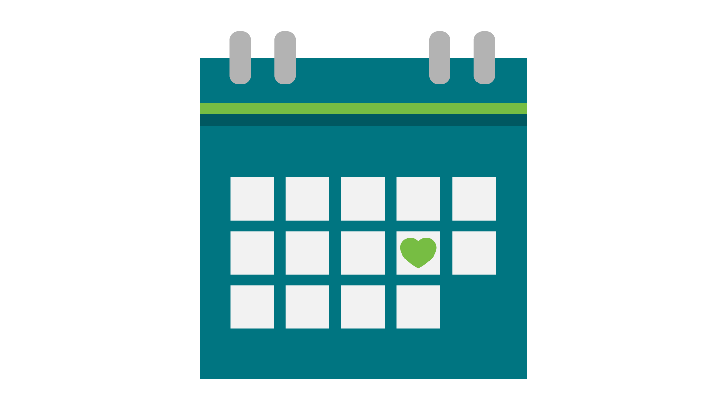 A blue calendar. One date is marked with a green heart.