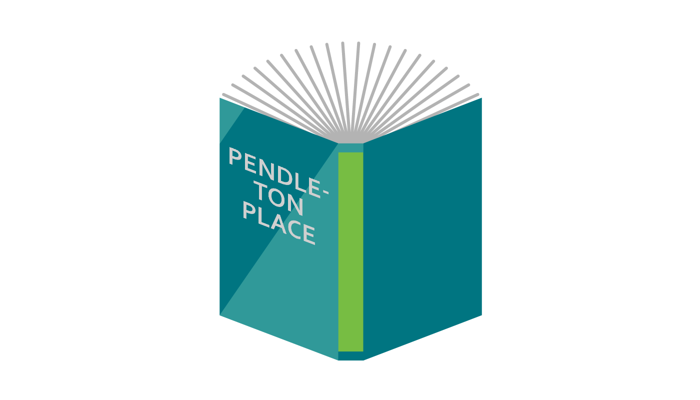 """A depiction of a book. It is colored green and blue. On the cover """"Pendleton Place"""" is written."""