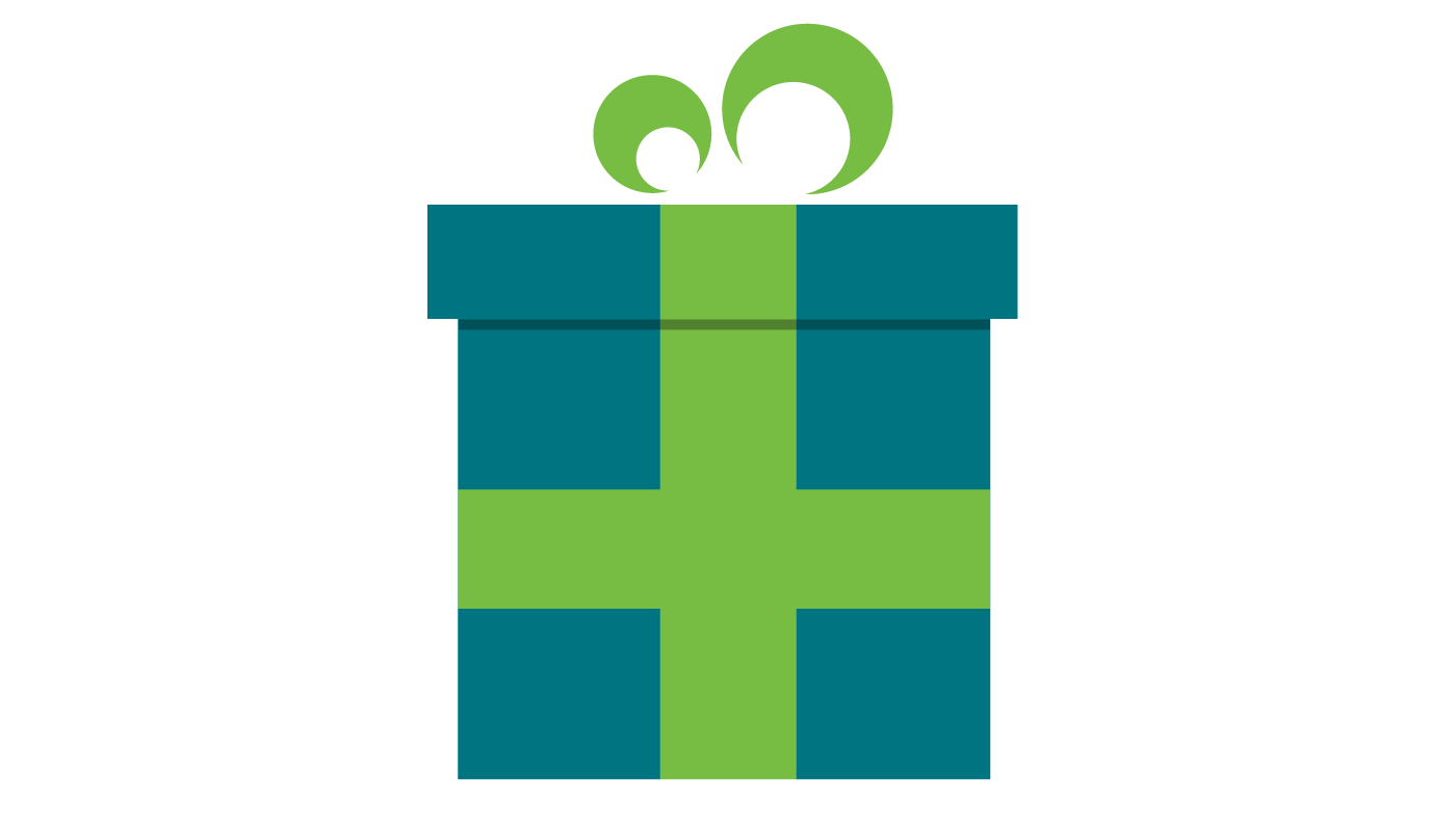 A blue present with a green bow around it.
