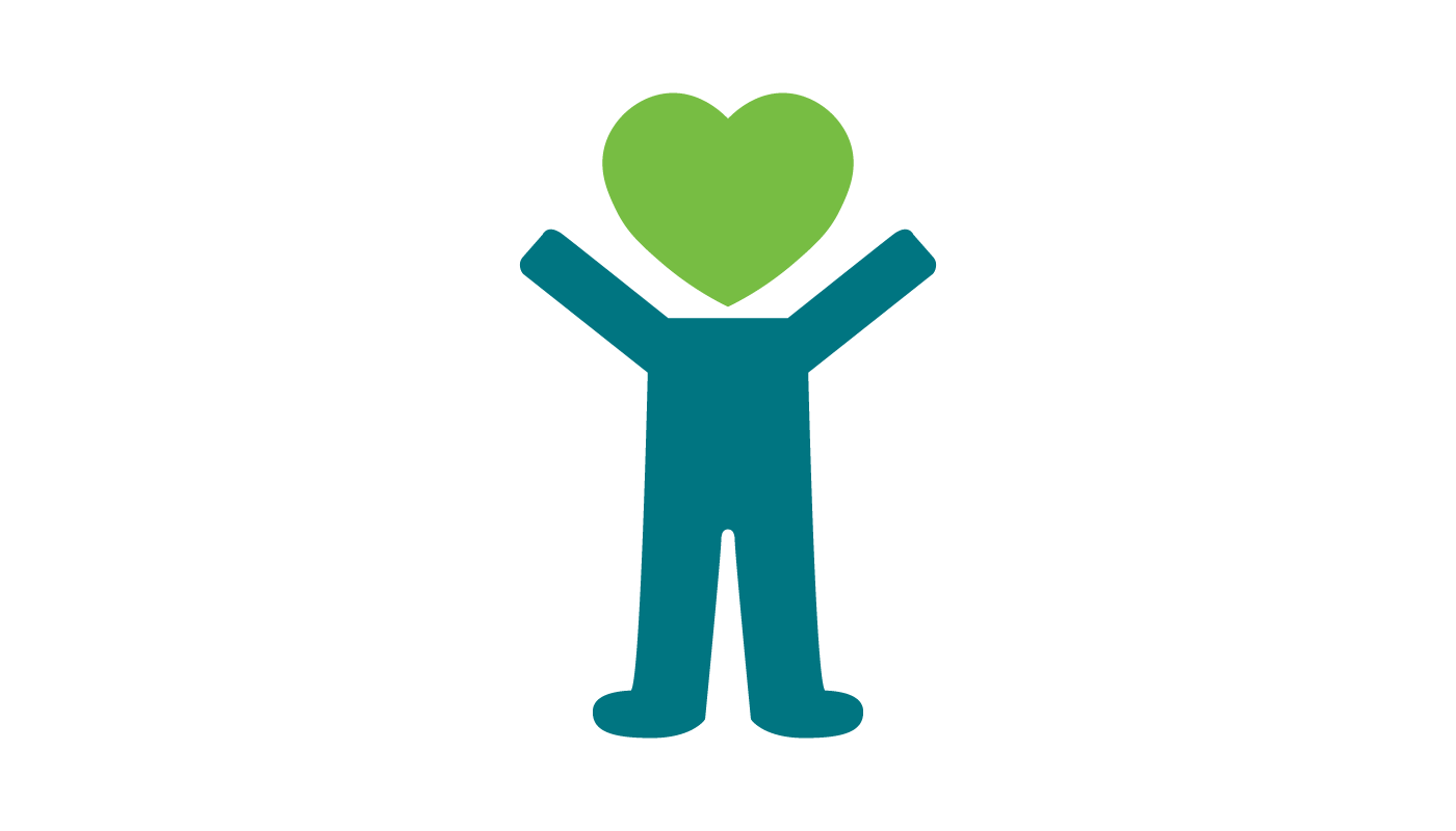 A blue stick figure. It's hands are raised in the air. It's head is a green heart.
